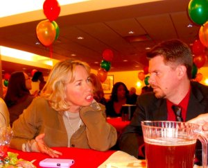 Here I am at the work Christmas party. I hope I wasn't gossiping. (photo by J. Barnes)