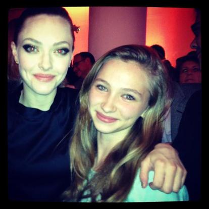 One of the darlings went to the premiere and met the celebs. Here she is with Amanda Seyfried.