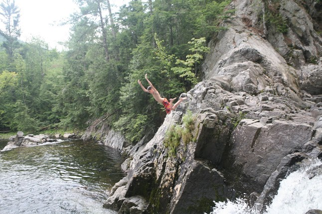 Children can fly (one of my darlings at the swimming hole in the Adirondacks).