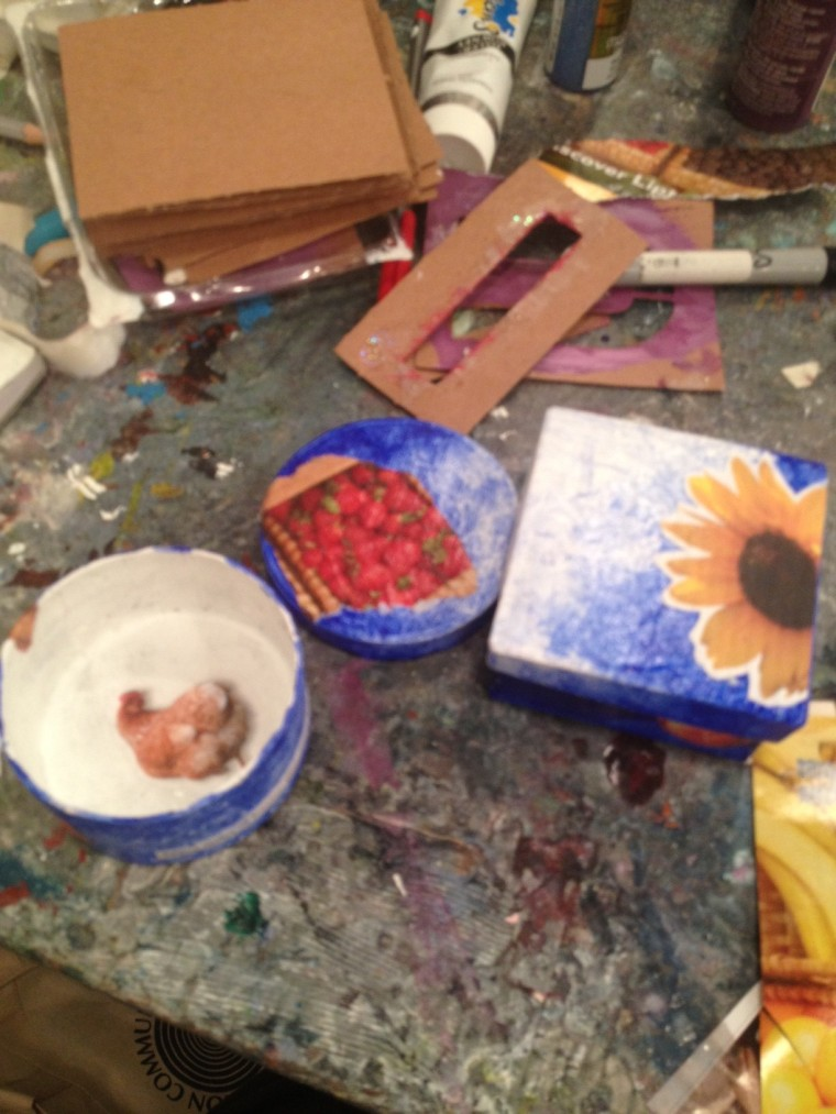 I collaged two small boxes to send to my darling girls at camp.