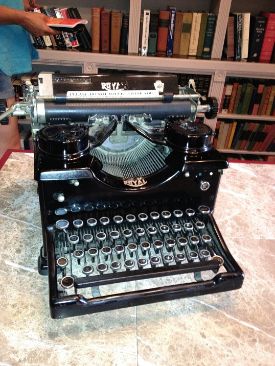 The typewriter on the counter at the inn in Westport. So charming.