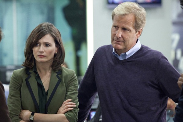 Mortimer and Daniels on the set of The Newsroom, HBO series. (photo courtesy of The Newsroom)