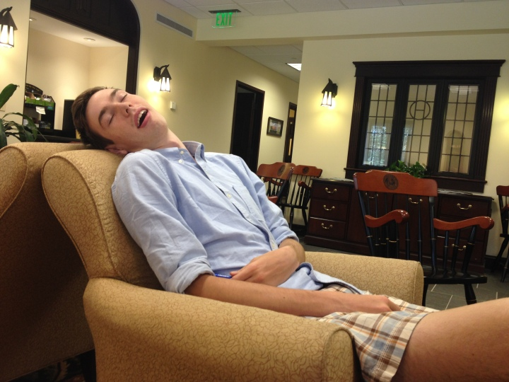 H. napping at one of the colleges we visited. He is an excellent napper.